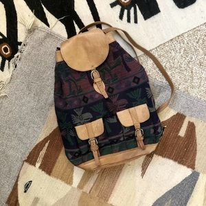 80s Ethnic Fabric Leather Back Pack Hand Bag